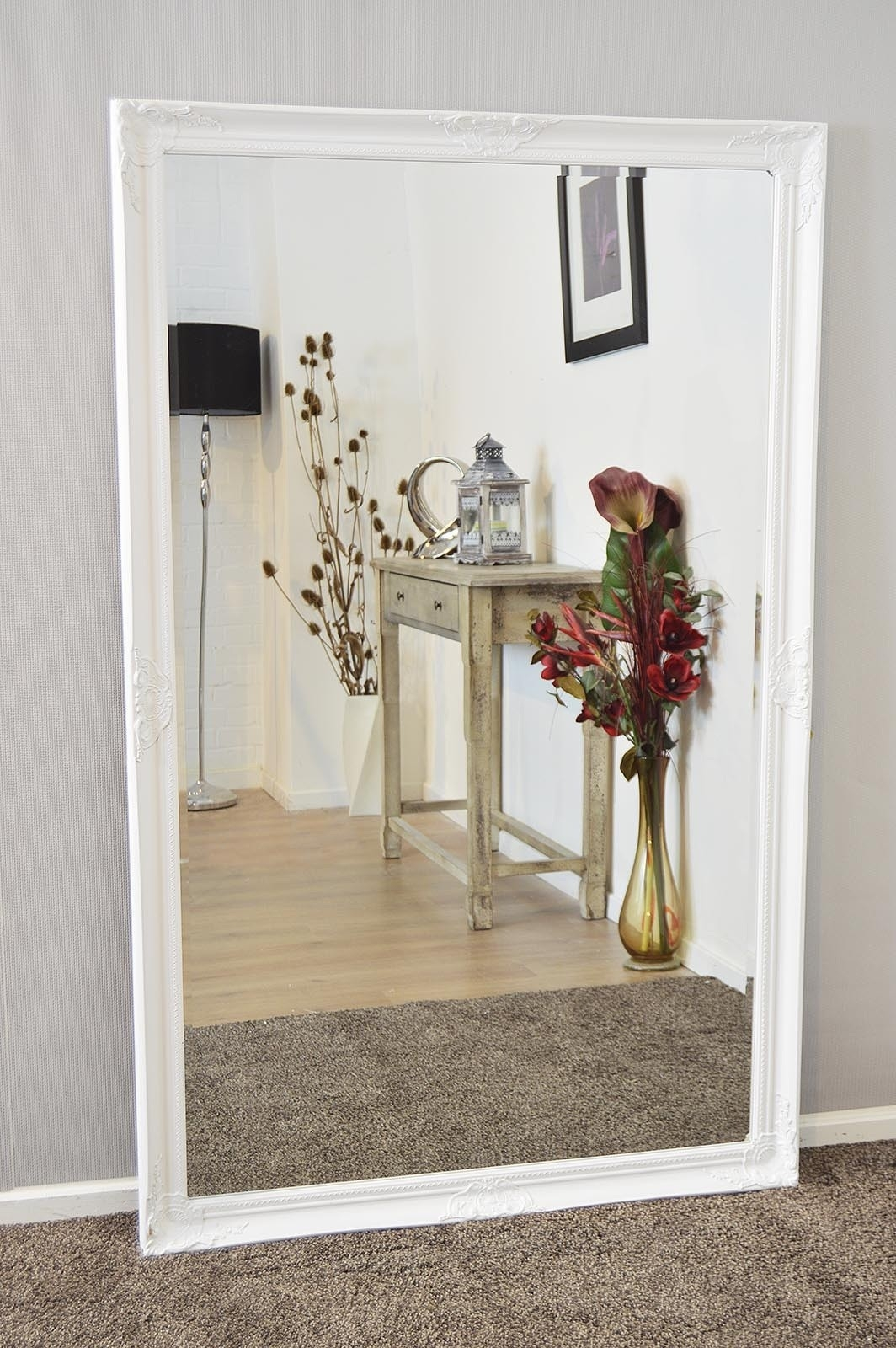Extra Large White Full Length Antique Bevelled Wall Mirror With Regard To Large Floor Length Mirror (Image 5 of 15)