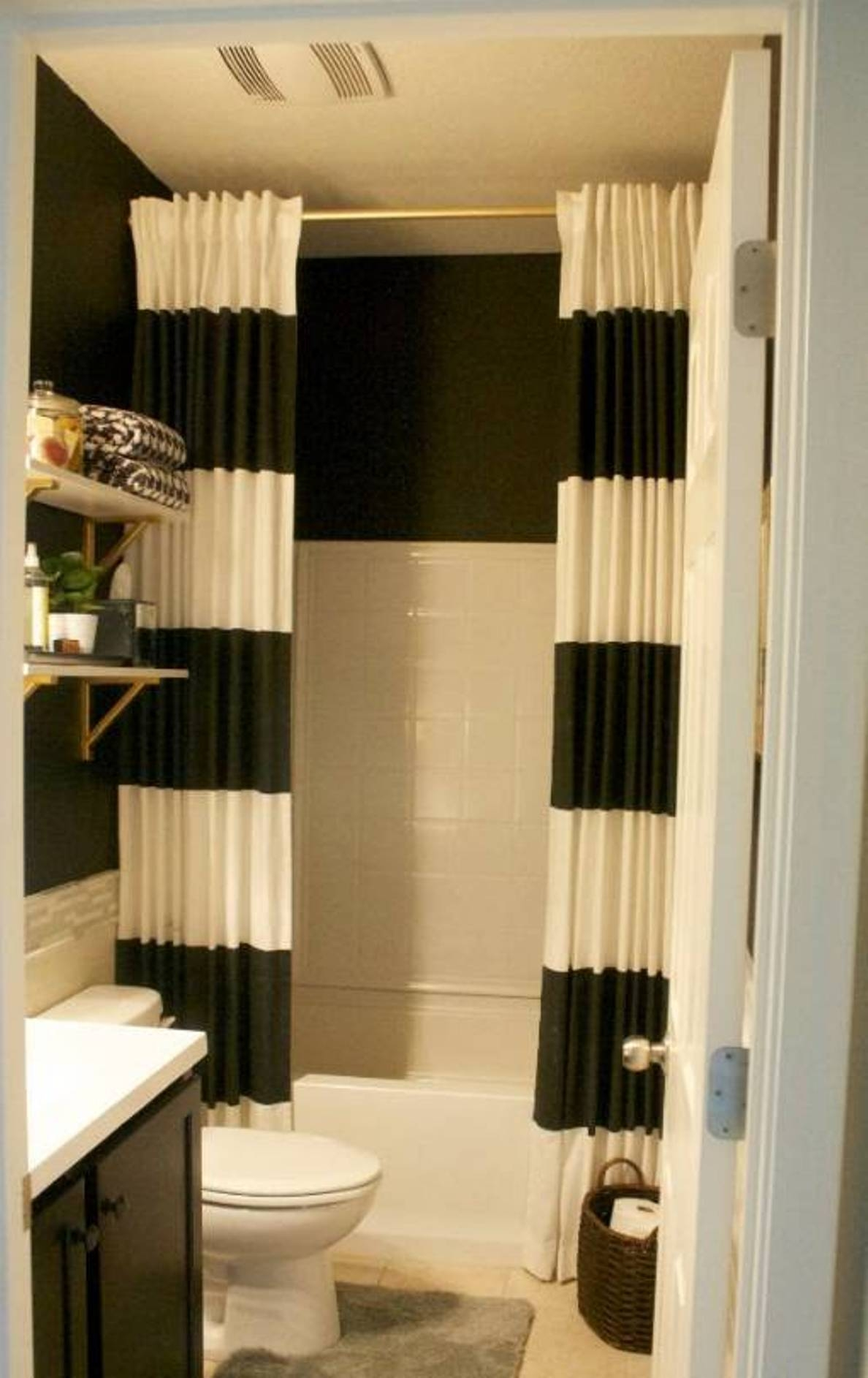 Extra Long Black Shower Curtain Intended For Extra Long Curtains (Image 6 of 15)