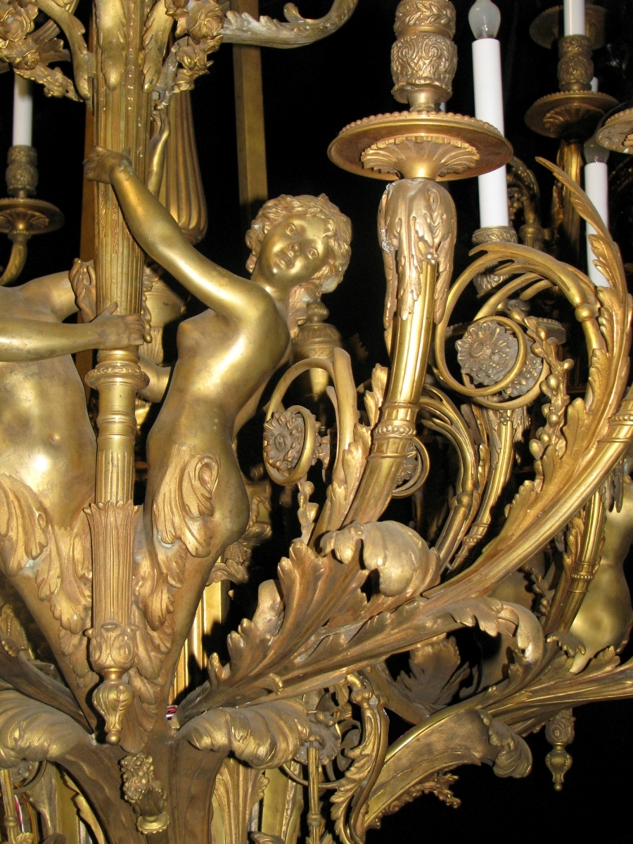 Extraordinary Antique French Louis Xv Style Bronze Figural 39 In French Bronze Chandelier (Image 9 of 15)