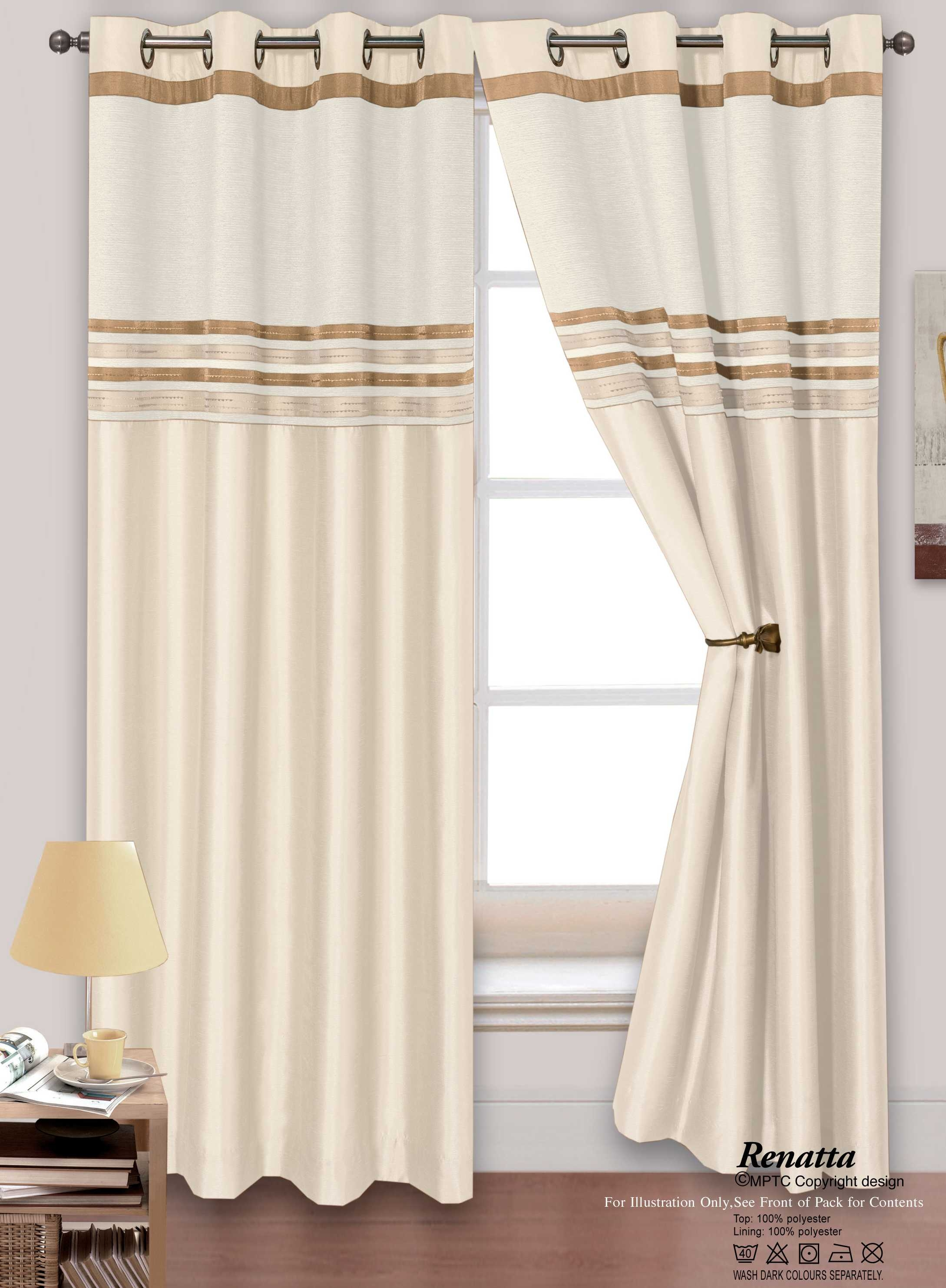 Eyelet Curtains Inside Cream Lined Curtains (Image 6 of 15)