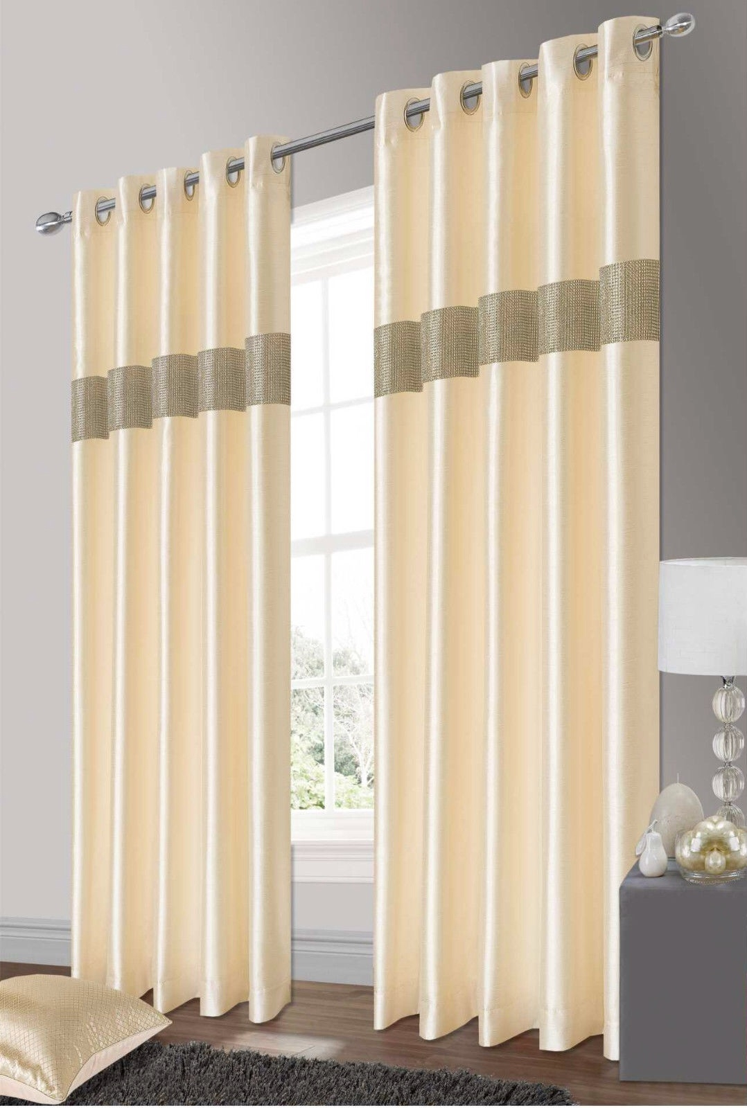 Eyelet Curtains With Cream Lined Curtains (Image 7 of 15)