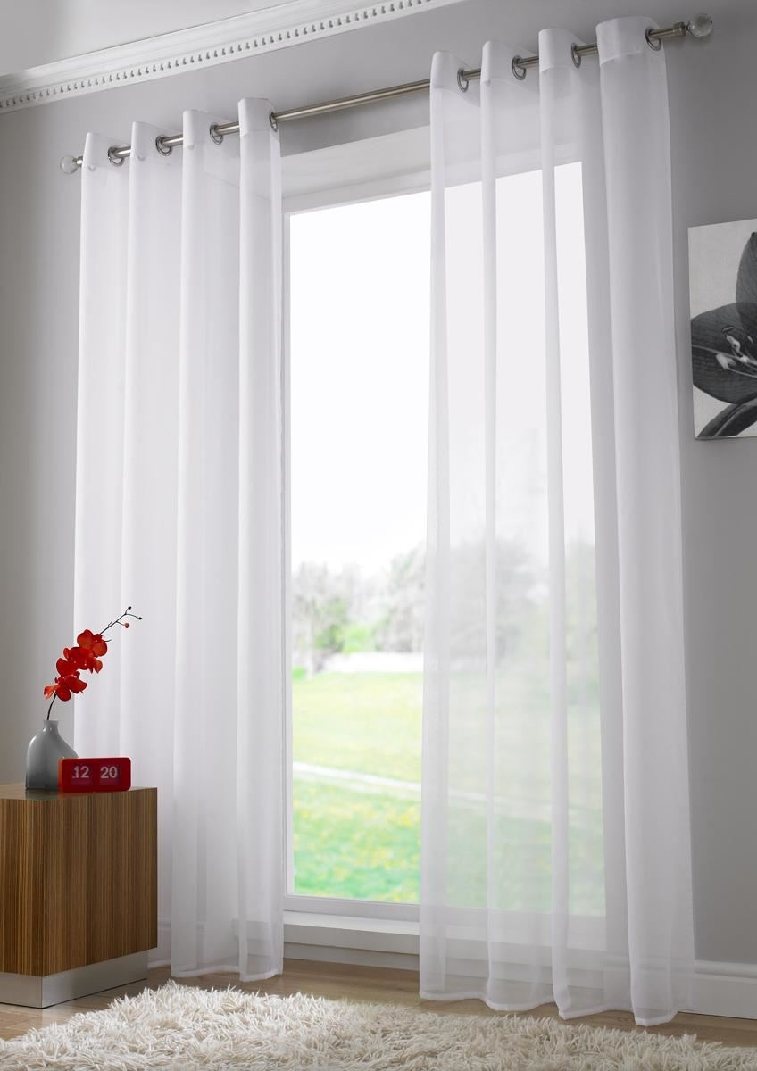 Eyelet Sheer Voile Ring Top Window Door Curtain Panel Drapes Regarding Sheer Eyelet Curtains (Image 3 of 15)