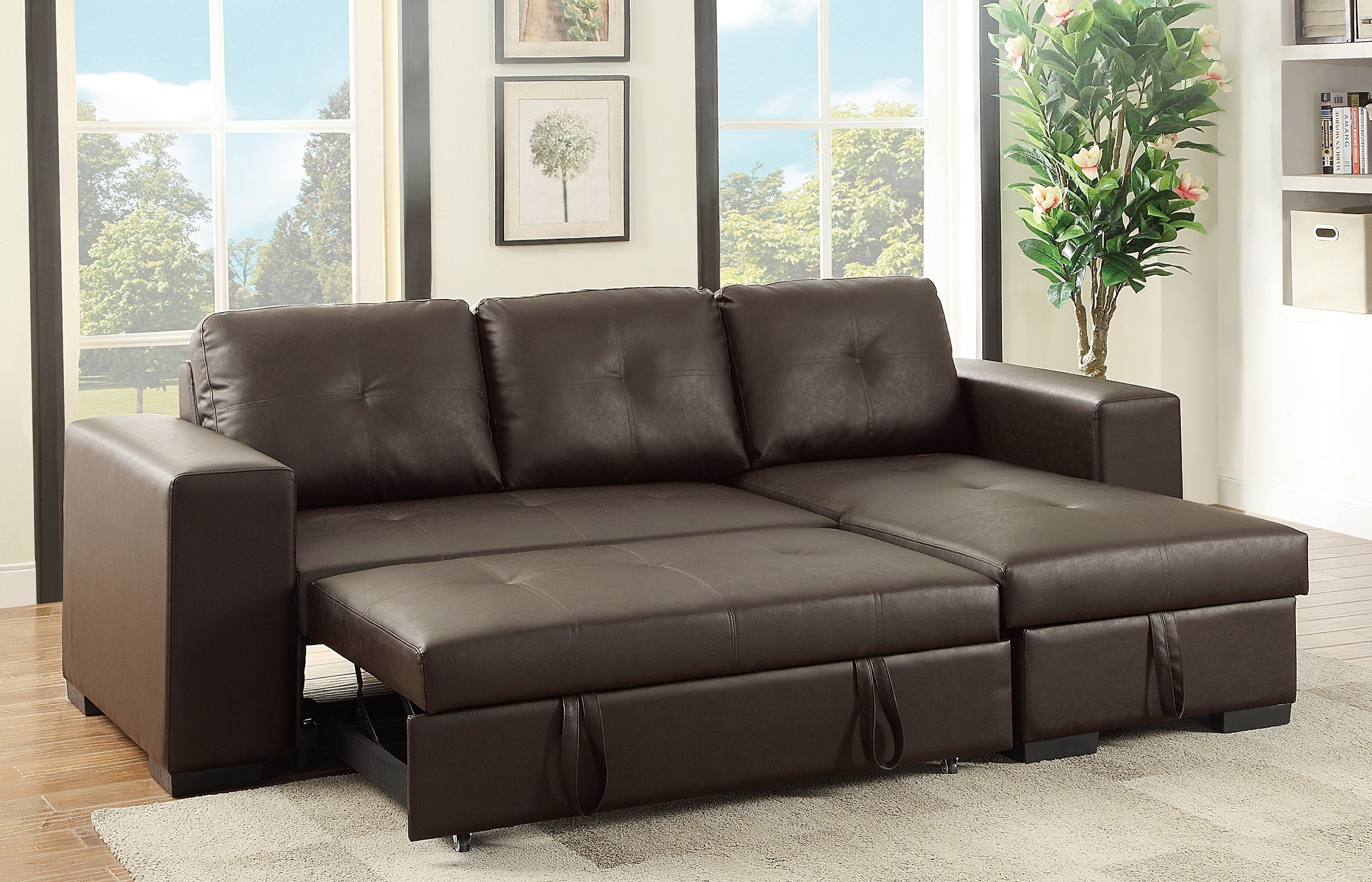 F6930 Espresso Convertible Sectional Sofa Poundex For Convertible Sectional Sofas (Image 5 of 15)