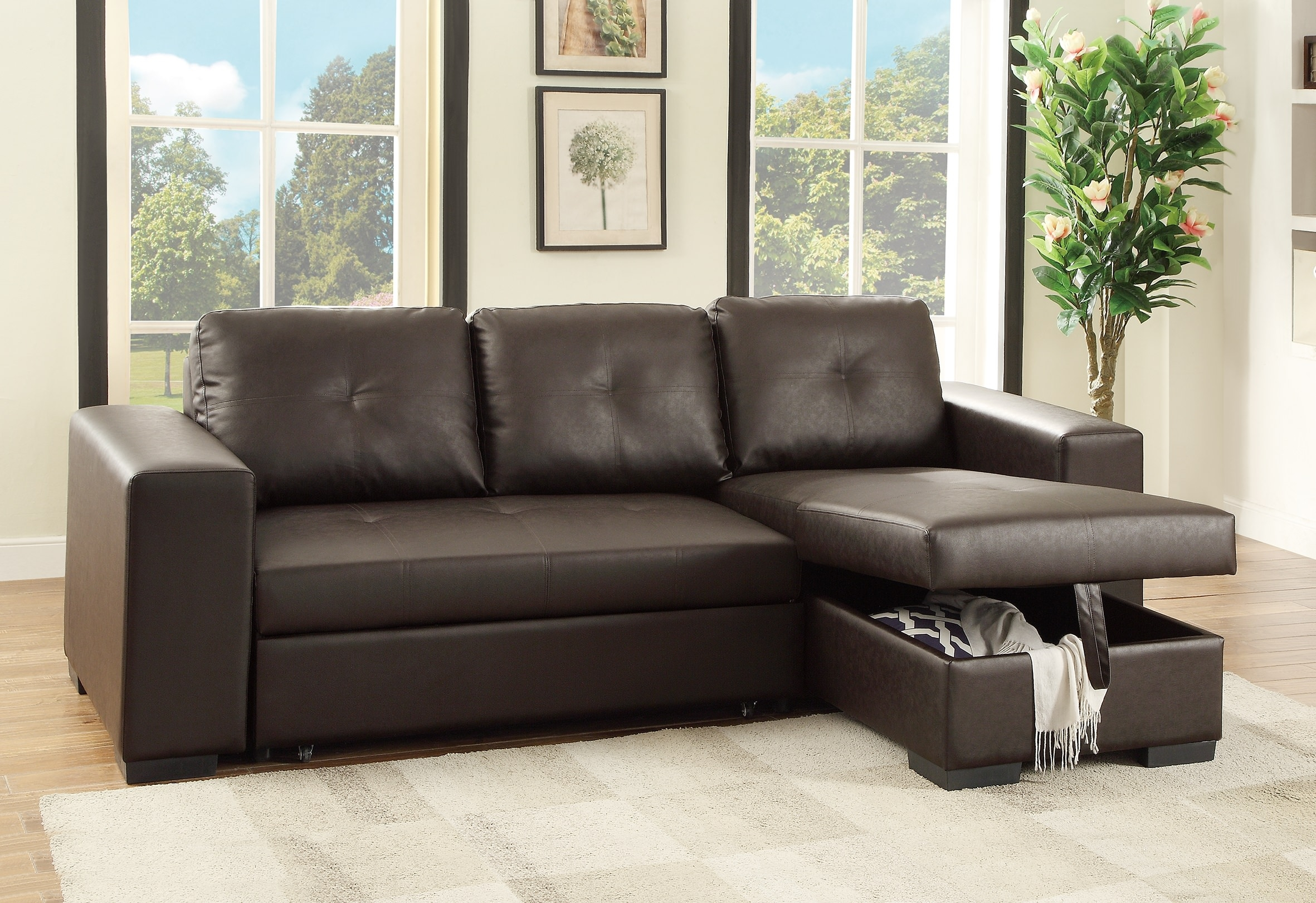 F6930 Espresso Convertible Sectional Sofa Poundex Inside Convertible Sectional Sofas (Image 6 of 15)