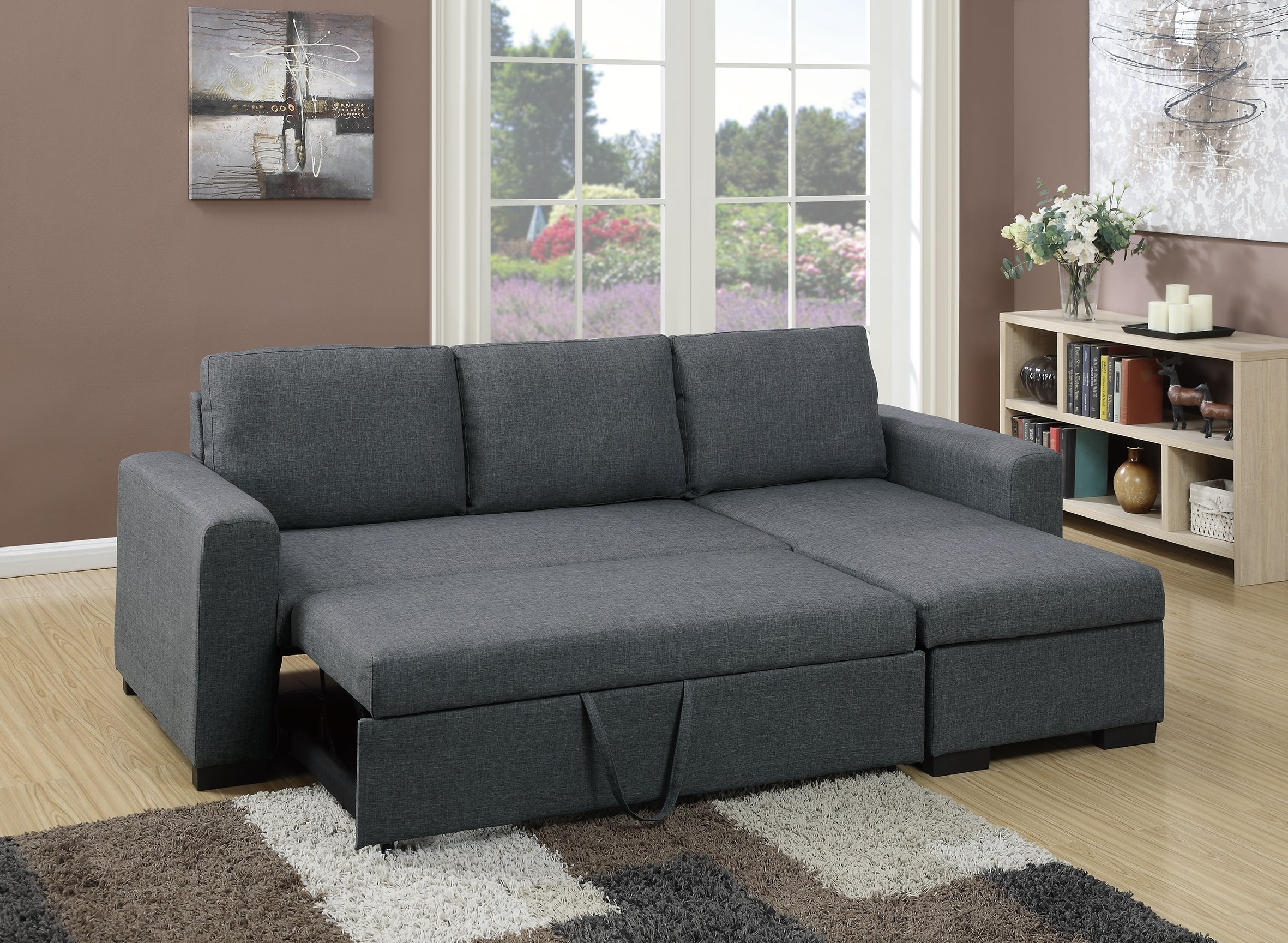 F6931 Blue Gray Convertible Sectional Sofa Poundex Regarding Convertible Sectional Sofas (Image 7 of 15)