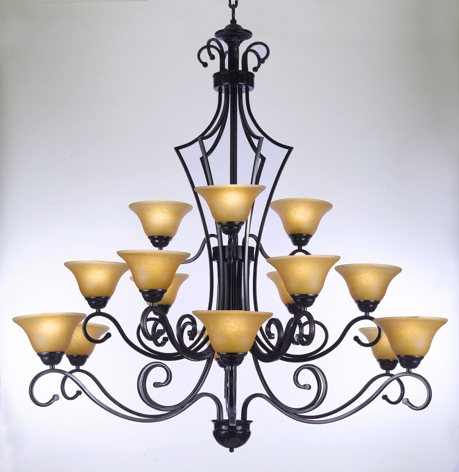 F84 45115 Gallery Wrought Without Crystal Wrought Iron Chandelier Intended For Cast Iron Chandelier (Image 9 of 15)