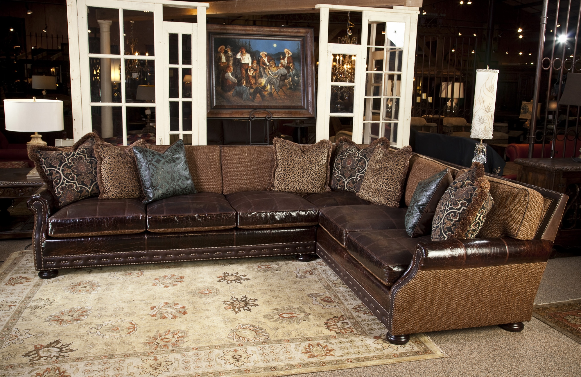 Fabric And Leather Sectional Sofa Great For Media Room All For Abbyson Living Charlotte Dark Brown Sectional Sofa And Ottoman (Image 12 of 15)