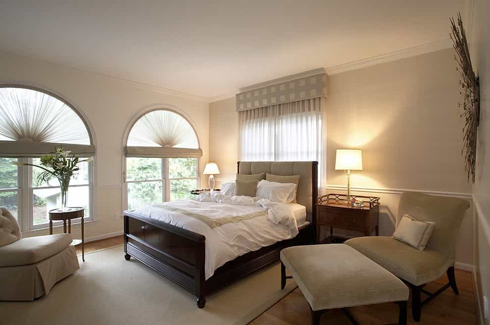 Fabric Covered Custom Window Cornice For Bedroom Windows Treatment (Image 14 of 20)