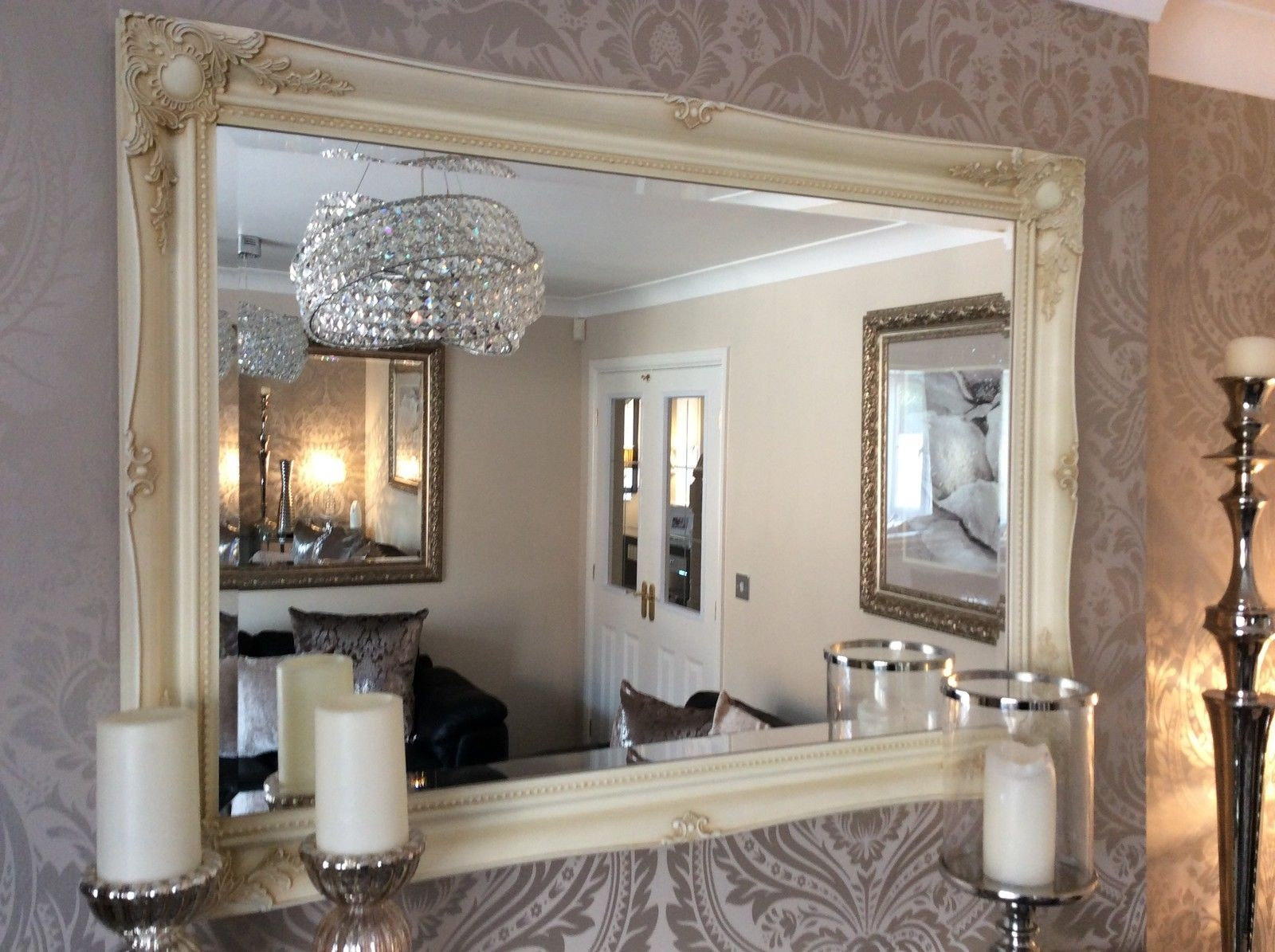 Fabulous Large Cream Decorative Stunning Shab Chic Wall Mirror With Regard To Cream Wall Mirror (Image 9 of 15)