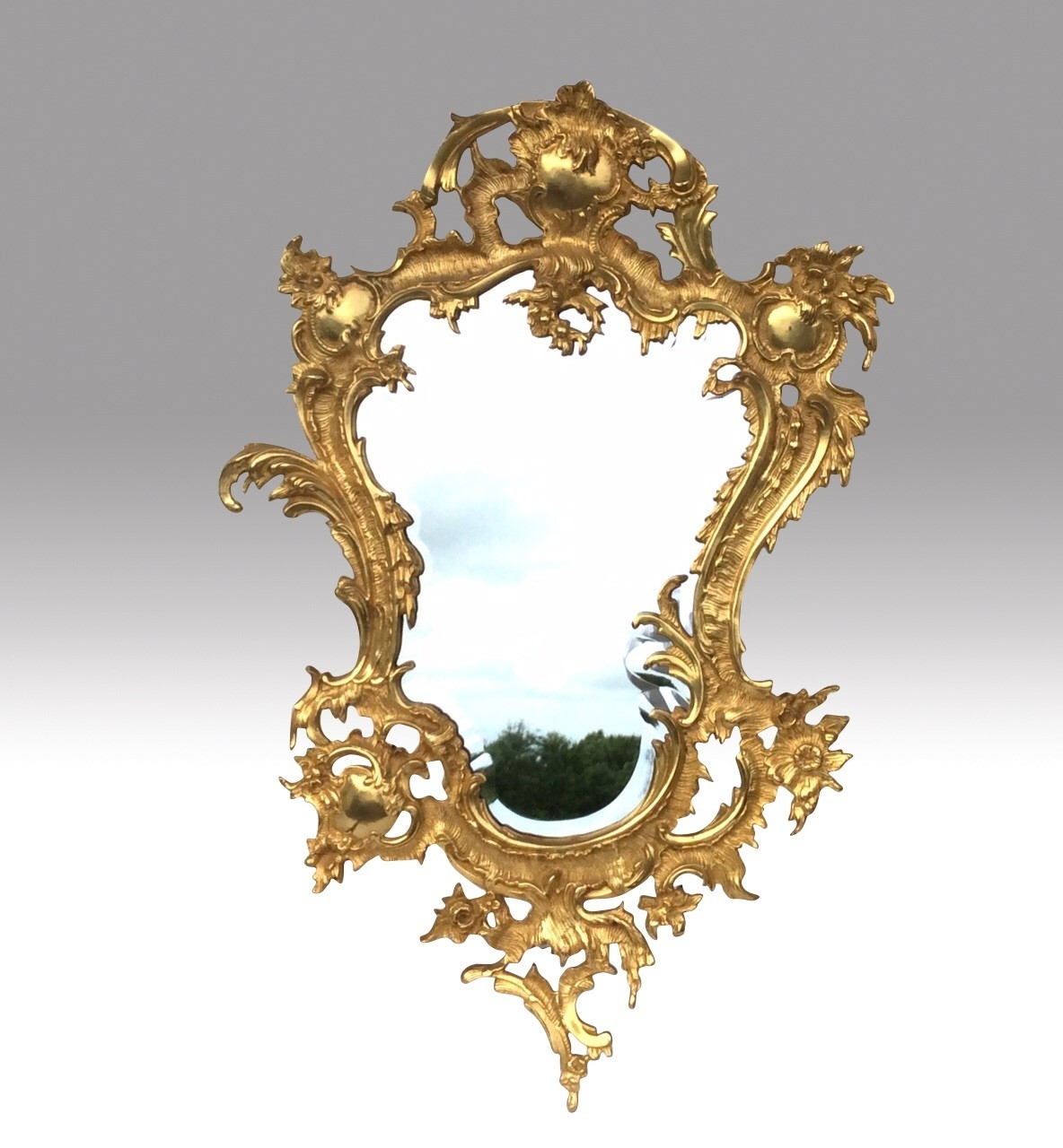 Fabulous Pair Gilted Bronze Rococo Style Wall Mirrors 1920 France For Rococo Wall Mirror (Image 3 of 15)