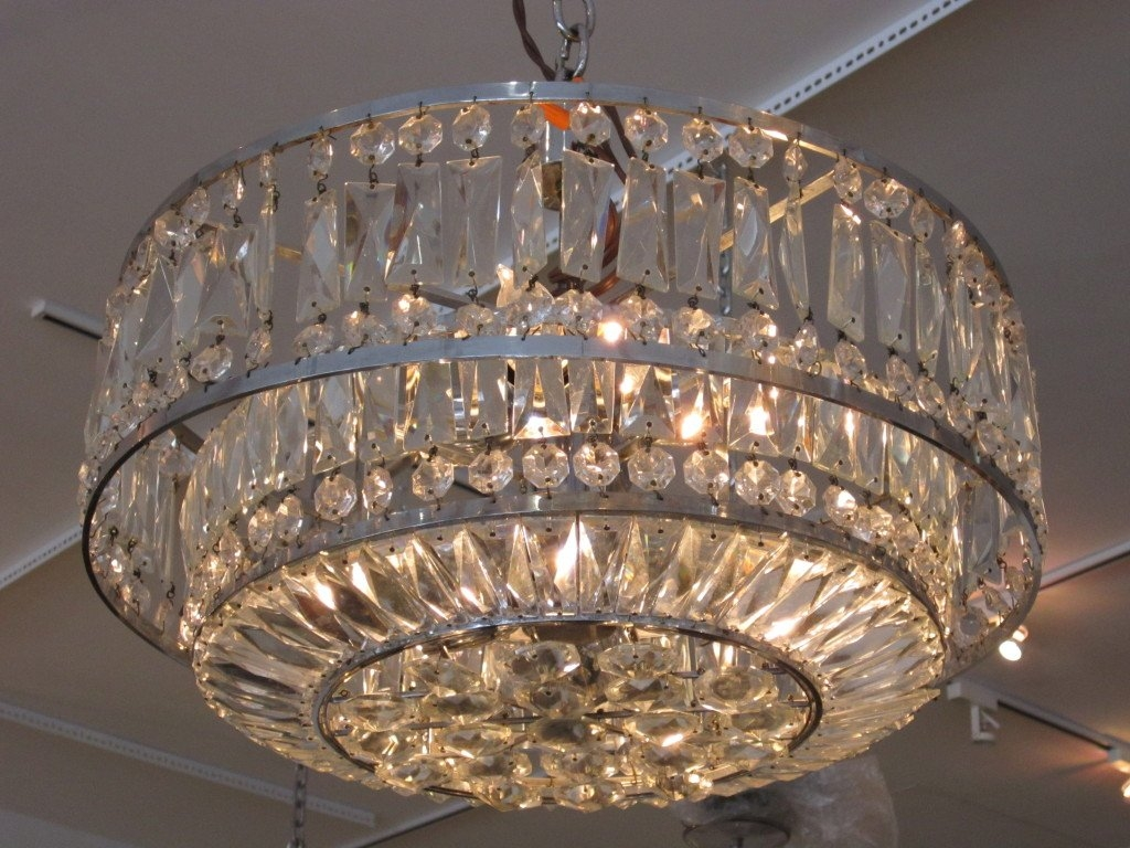 Faceted Crystal Art Deco Chandelier At 1stdibs Throughout Art Deco Chandelier (Image 10 of 15)