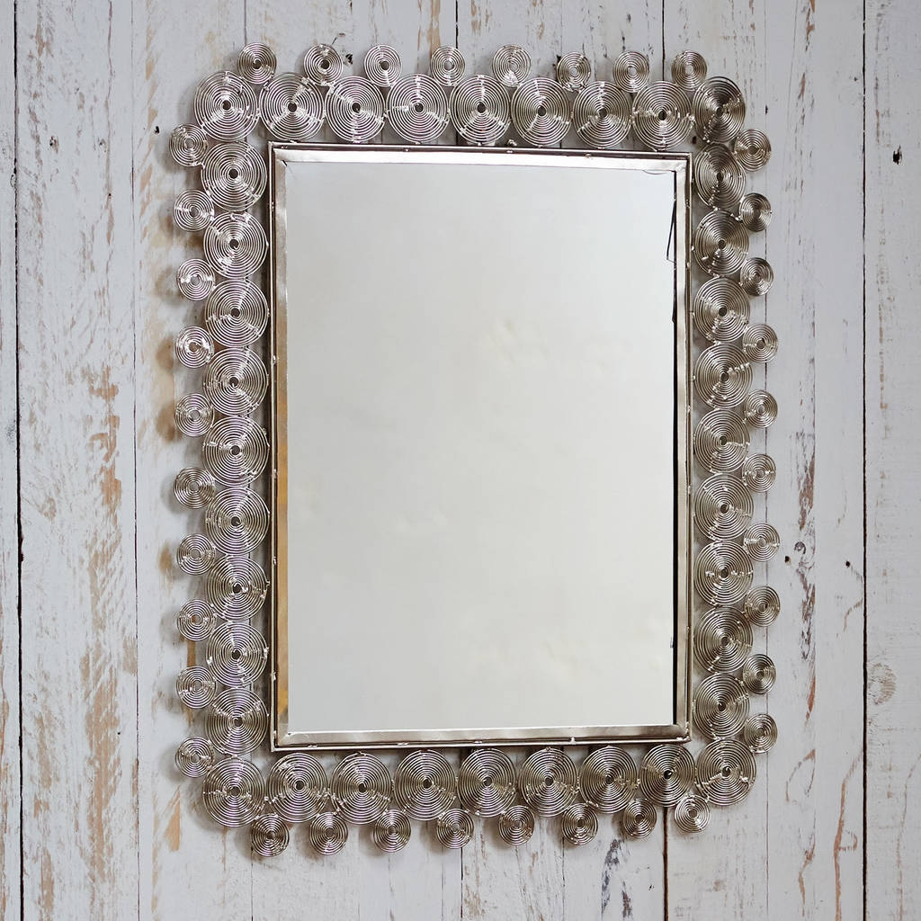 Fair Trade Zanie Silver Rectangular Mirror Paper High Pertaining To Silver Rectangular Mirror (Image 5 of 15)