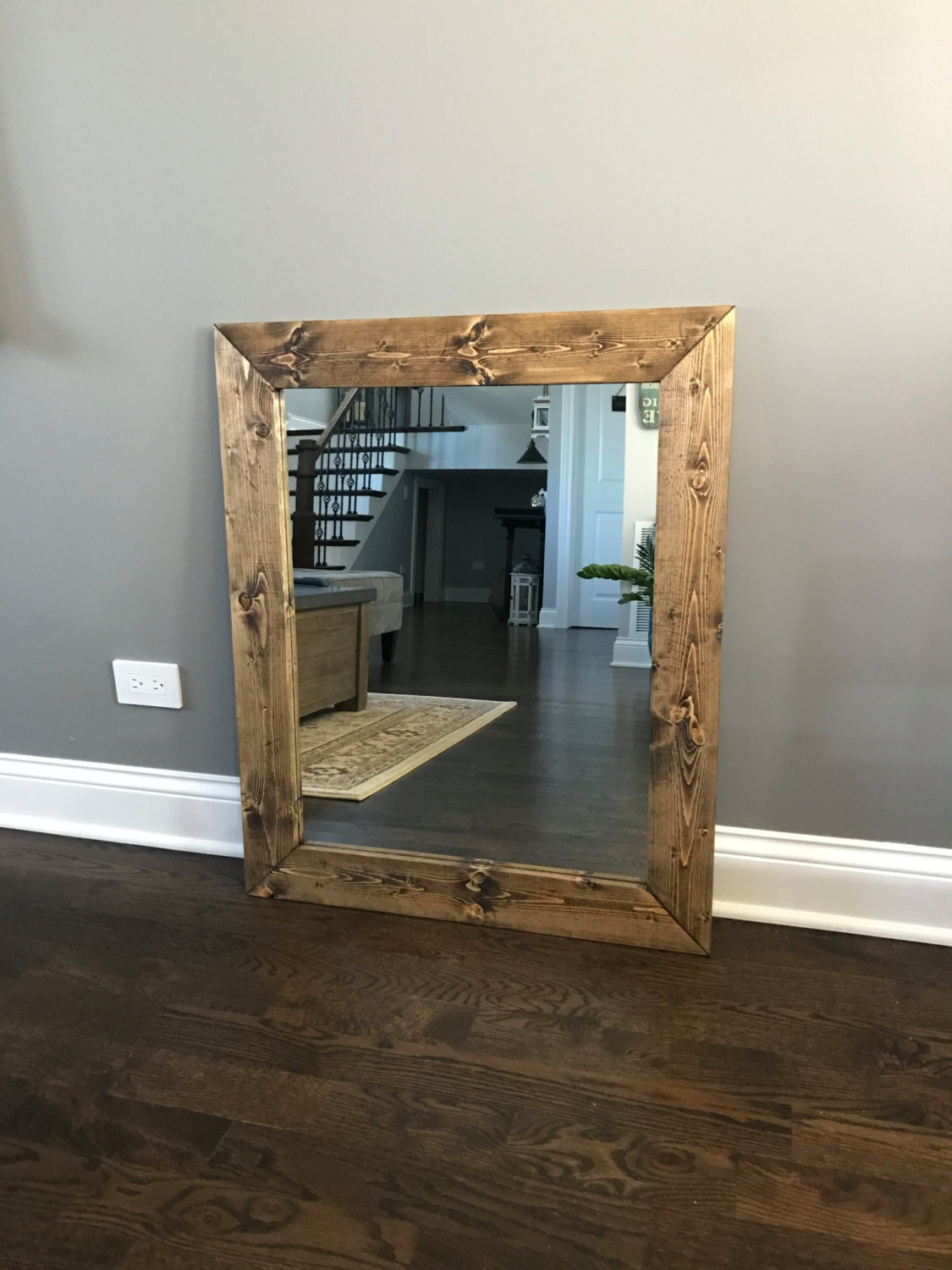 Farmhouse Mirror Etsy With Rustic Oak Framed Mirrors (Image 6 of 15)