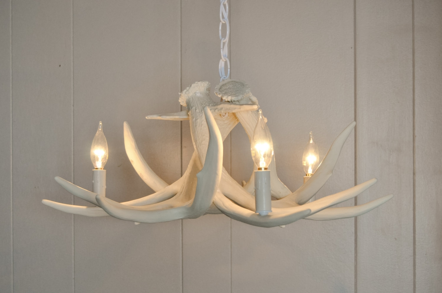 Faux Antler Chandelier White Roselawnlutheran With Regard To Modern Antler Chandelier (Image 6 of 15)