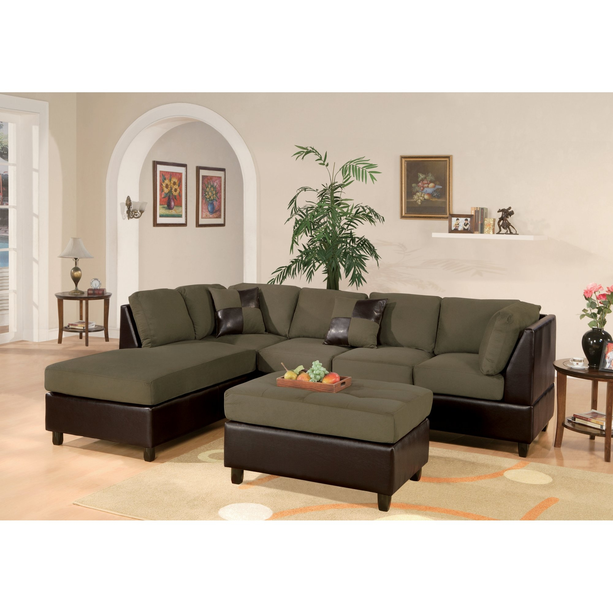 Faux Leather Sectional Sofas Youll Love Wayfair Inside Camel Colored Sectional Sofa (Image 10 of 15)