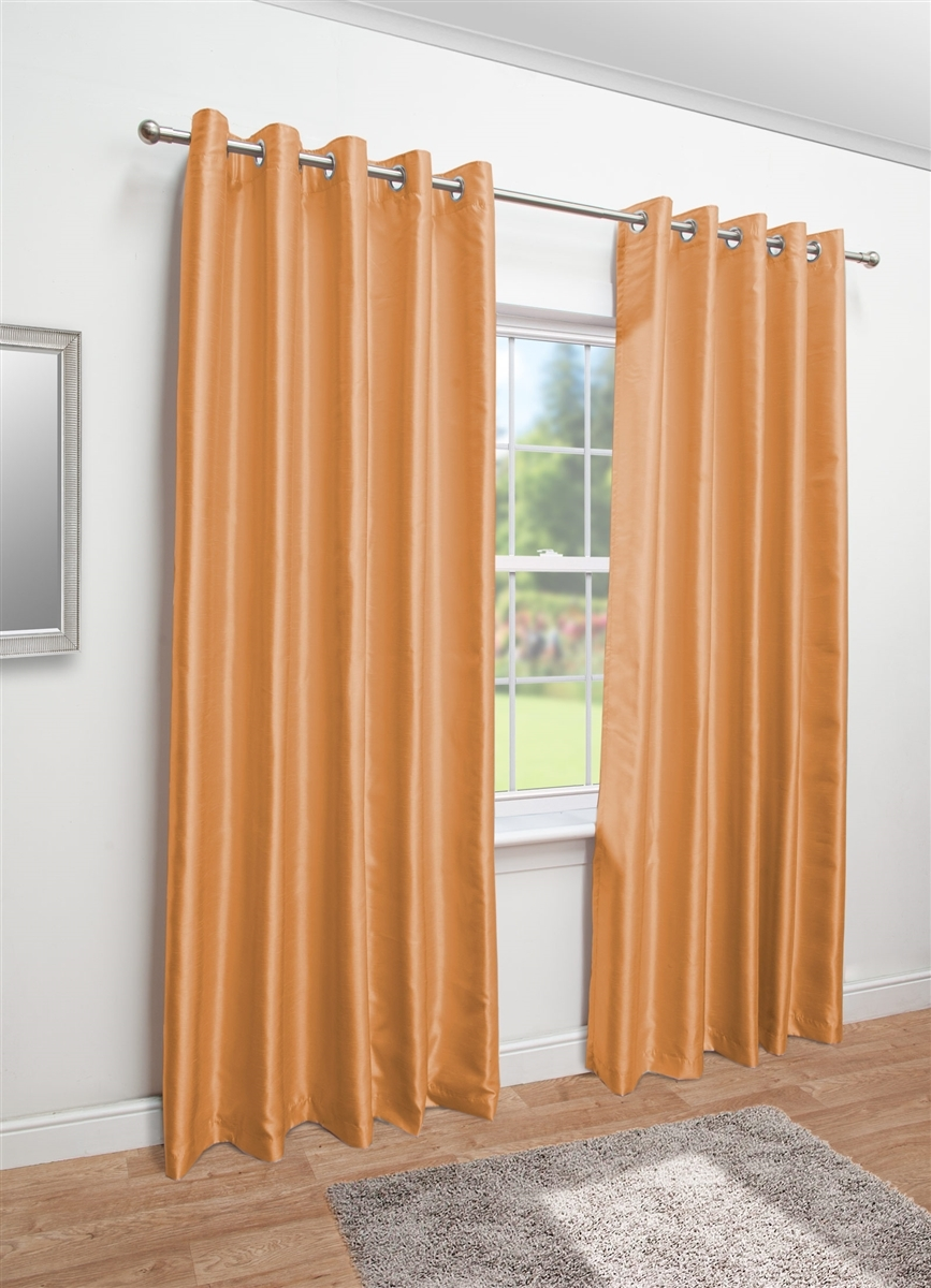 Faux Silk Eyelet Fully Lined Curtains For Orange Silk Curtains (Image 4 of 15)