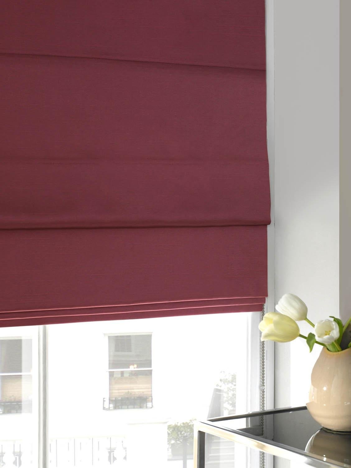 Faux Silk Roman Blind Hot Pink Free Uk Delivery Terrys Fabrics With Silk Blinds (Image 3 of 15)