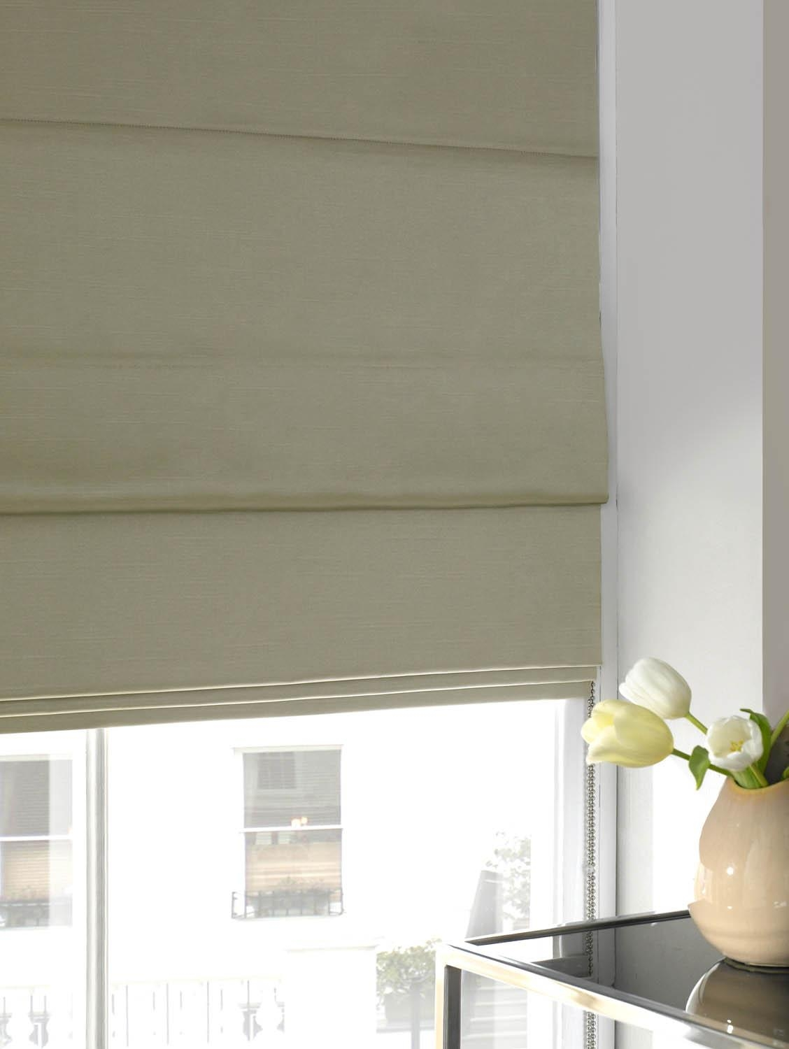 Faux Silk Roman Blind Ivory Free Uk Delivery Terrys Fabrics Throughout Yellow Roman Blinds (Image 11 of 15)