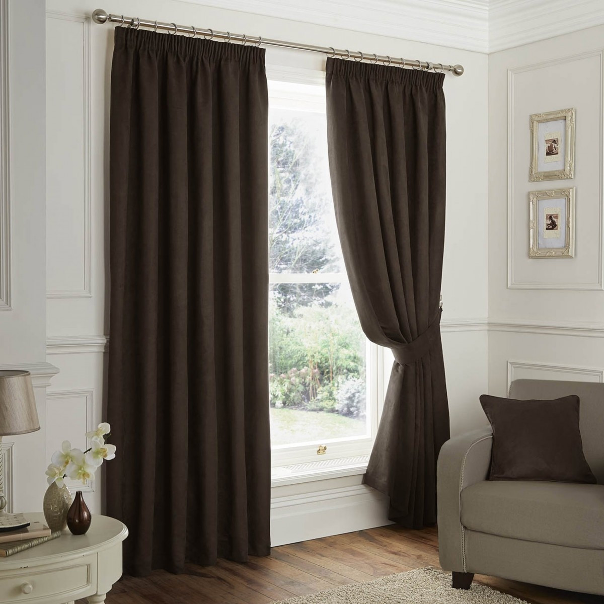 Faux Suede Blackout Chocolate Pencil Pleat Curtains Dove Mill Intended For Pencil Pleat Curtains (Image 3 of 15)