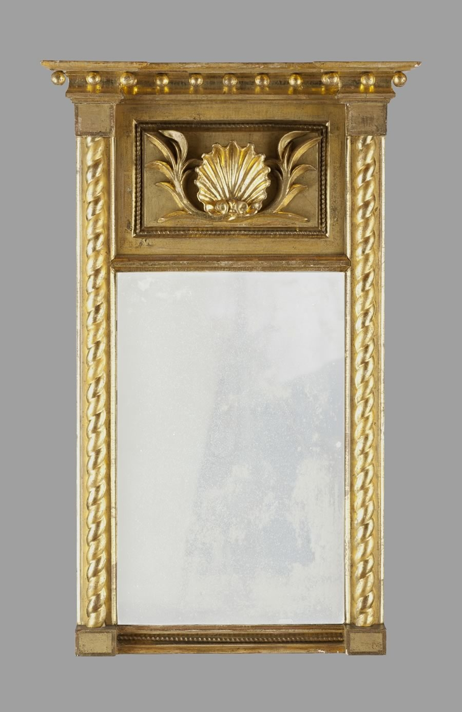 Federal Gold Gilt Mirror With Shell Motif And Original Label Within Gold Gilt Mirrors (Image 3 of 15)