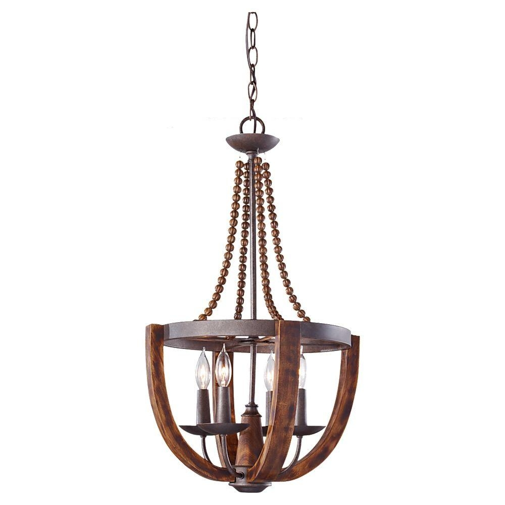 Feiss Adan 4 Light Rustic Ironburnished Wood Single Tier In Copper Chandelier (Image 4 of 15)