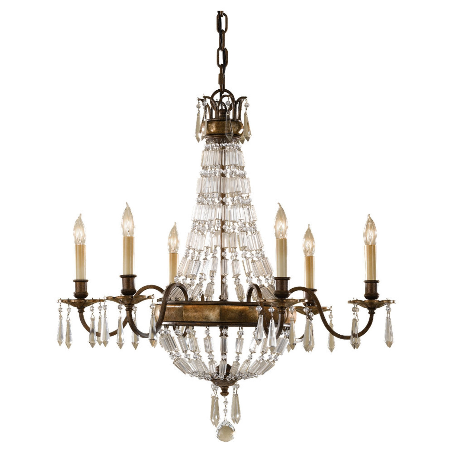 Feiss Bellini Oxidized Bronzebritish Bronze Crystal Chandelier On With Bronze And Crystal Chandeliers (Image 6 of 15)