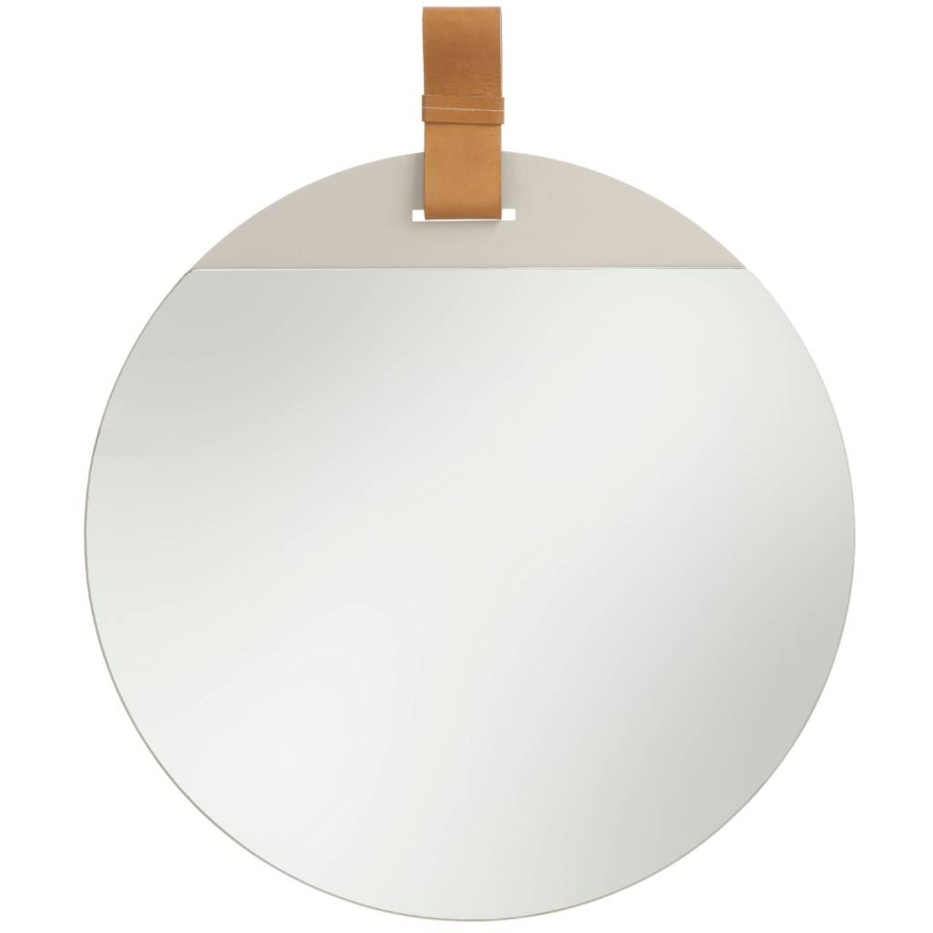 Ferm Living Enter Mirror With Leather Strap Large 45x52cm Pertaining To Large Leather Mirror (Image 4 of 15)