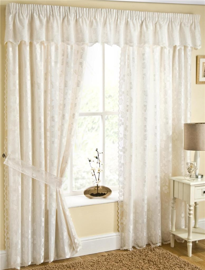 Fiji Fully Lined Cream Lace Curtains With Butterflys Choice Of Inside Cream Lined Curtains (Image 8 of 15)