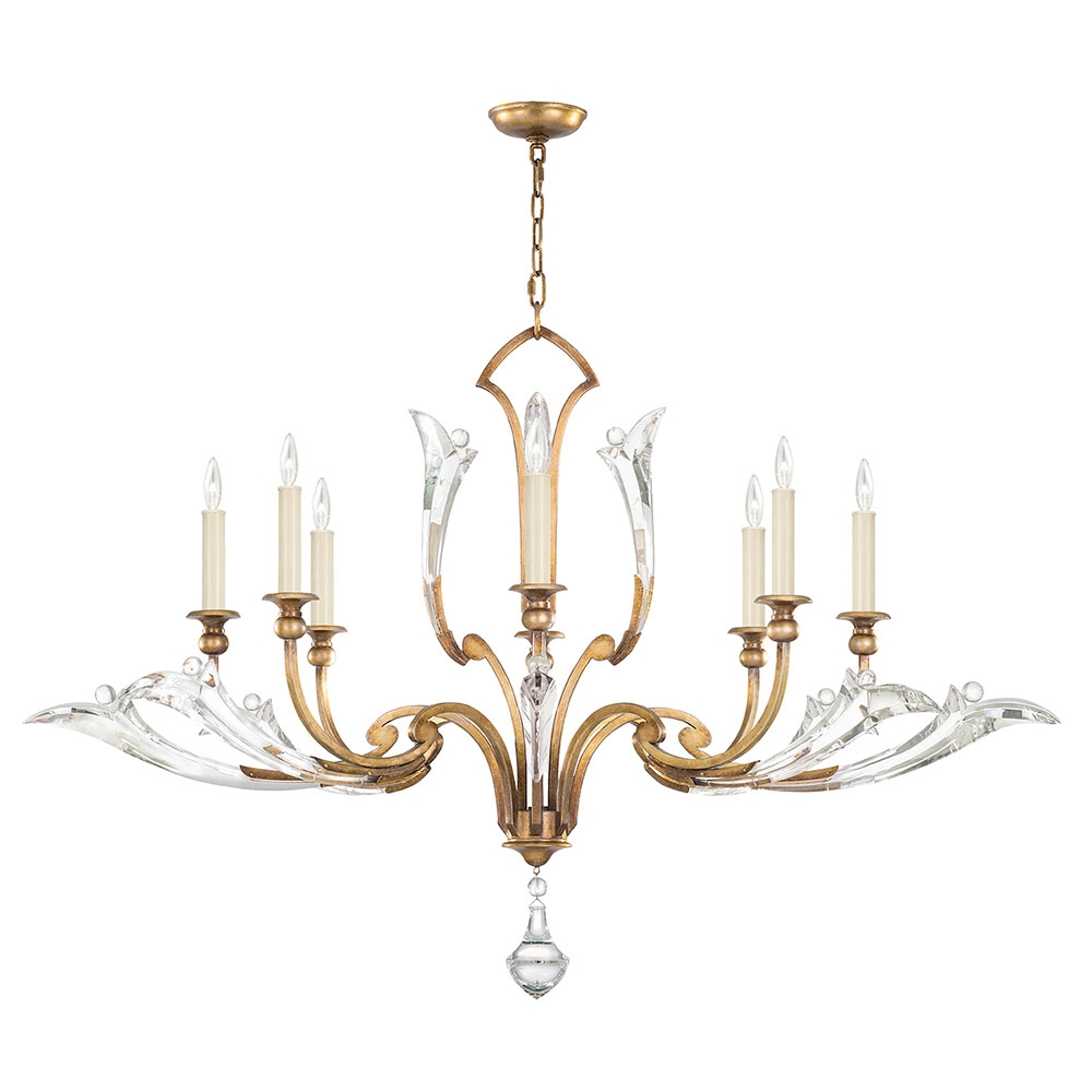 Fine Art Lamps 863740 2st Ice Sculpture Gold Leaf Chandelier Lamp Within Gold Leaf Chandelier (Image 6 of 15)