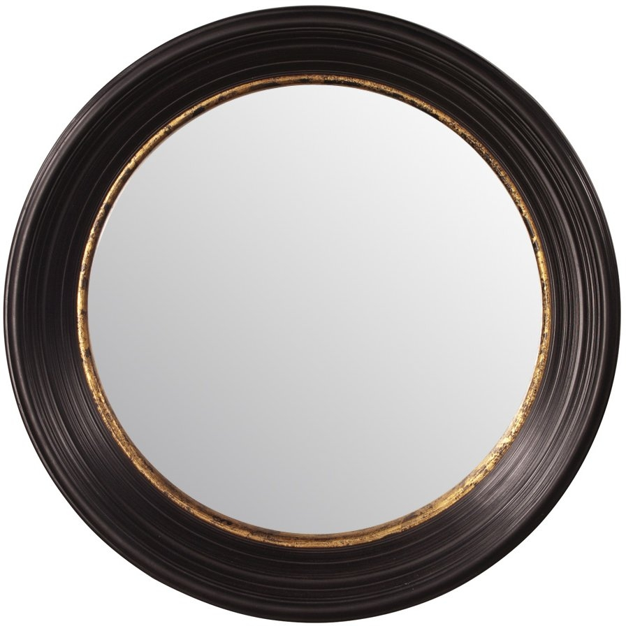Fleur De Lis Living Convex Round Brown Wall Mirror Reviews Wayfair For Round Convex Wall Mirror (Image 4 of 15)