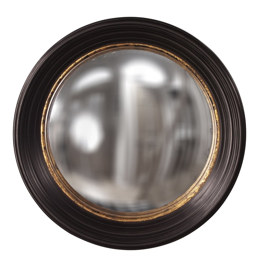 Fleur De Lis Living Convex Round Brown Wall Mirror Reviews Wayfair Throughout Round Convex Wall Mirror (Image 6 of 15)