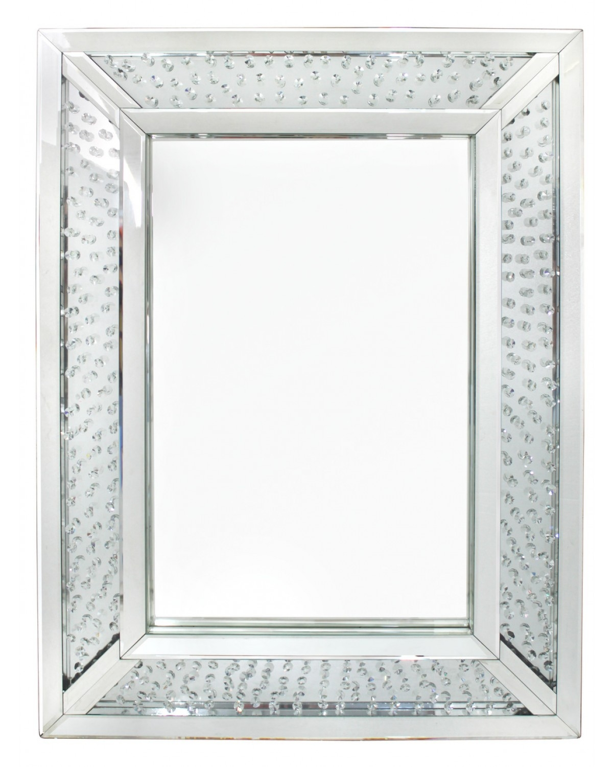 Floating Crystal Rectangle Wall Mirror Pertaining To Wall Mirror With Crystals (Image 9 of 15)
