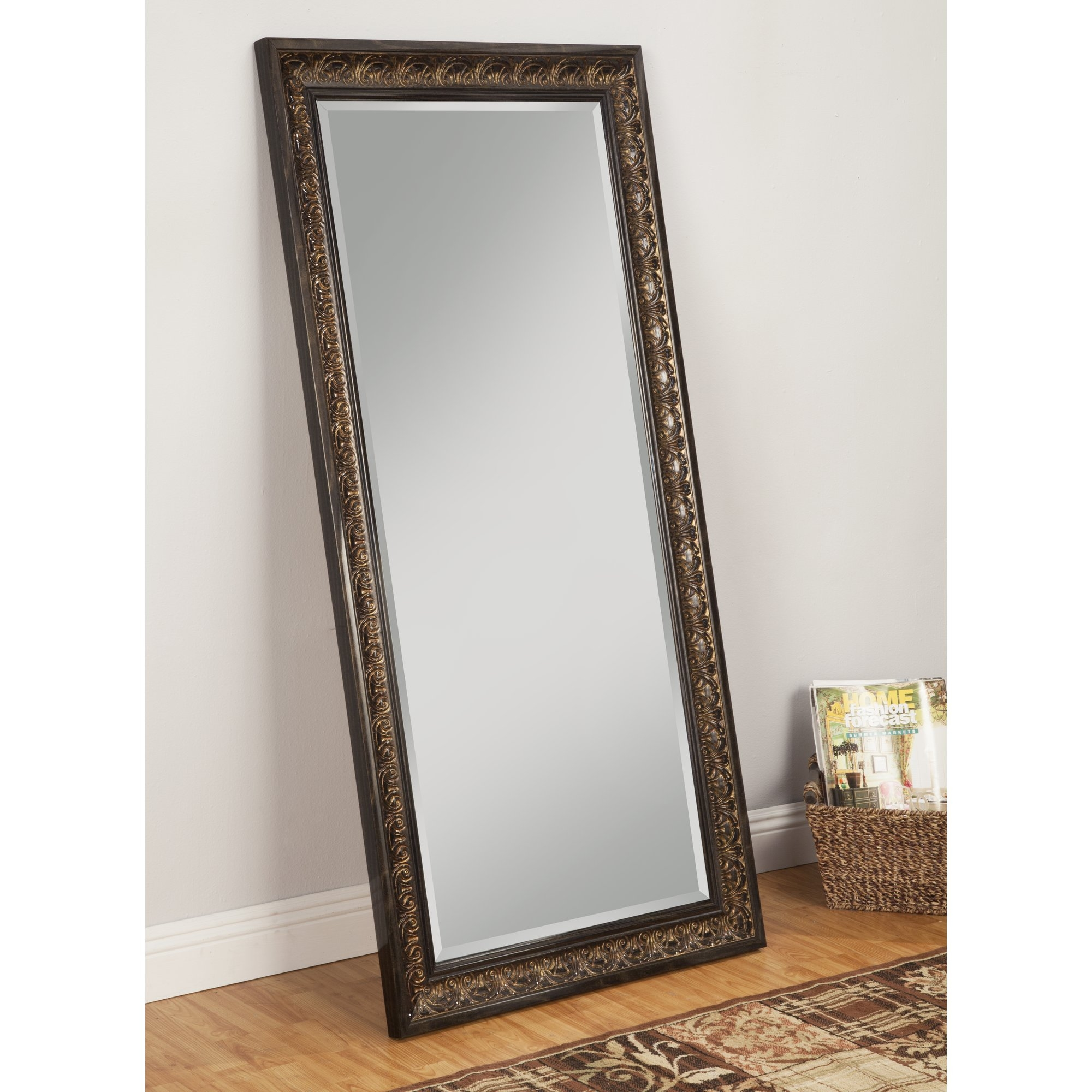 Floor Mirrors Youll Love Wayfair For Full Length Silver Mirror (Image 4 of 15)