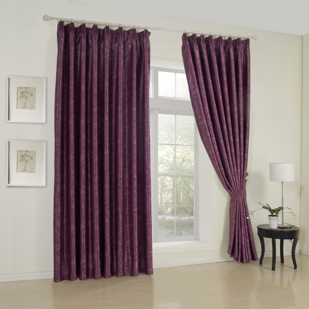 Floral Neoclassical Purple Blackout Curtains Curtains Homedecor With Regard To Custom Made Blackout Curtains (Image 10 of 15)