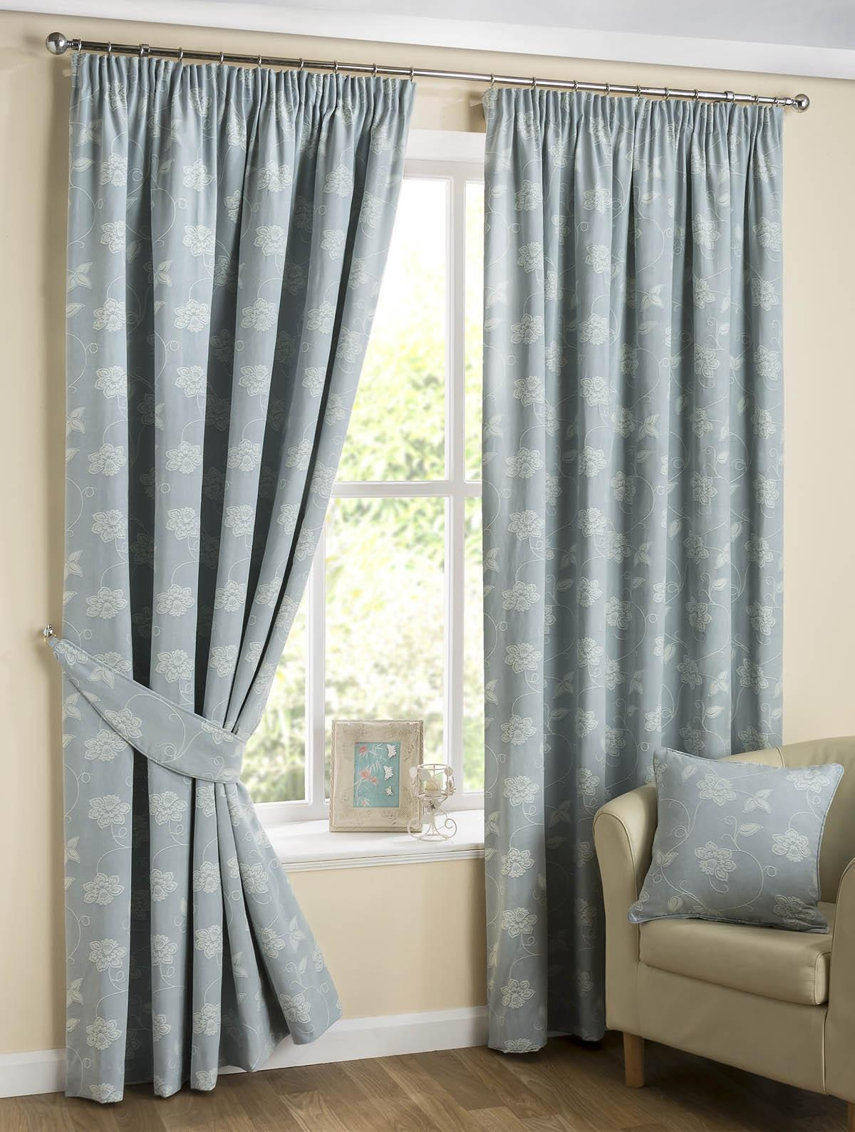 Floral Scroll Curtains Duck Egg Blue Free Uk Delivery Terrys Intended For Duck Egg Blue Striped Curtains (View 11 of 15)