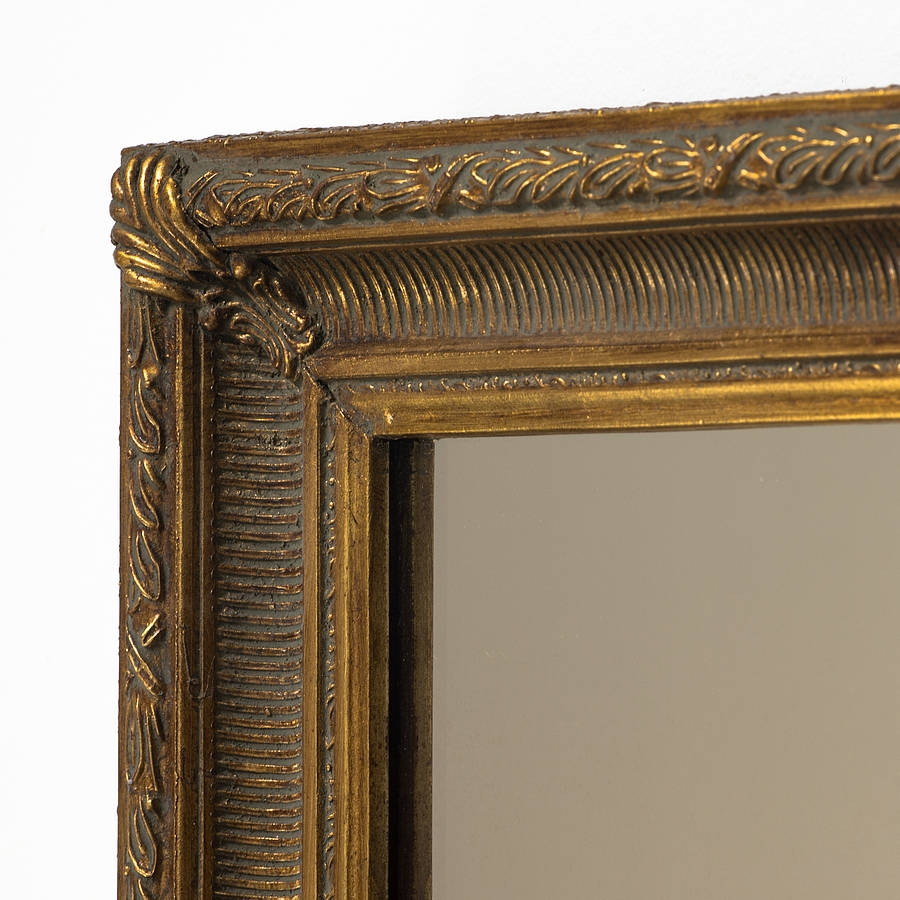 Fluted Antique Gold Mirror Hand Crafted Mirrors Throughout Antique Gold Mirrors (Image 8 of 15)