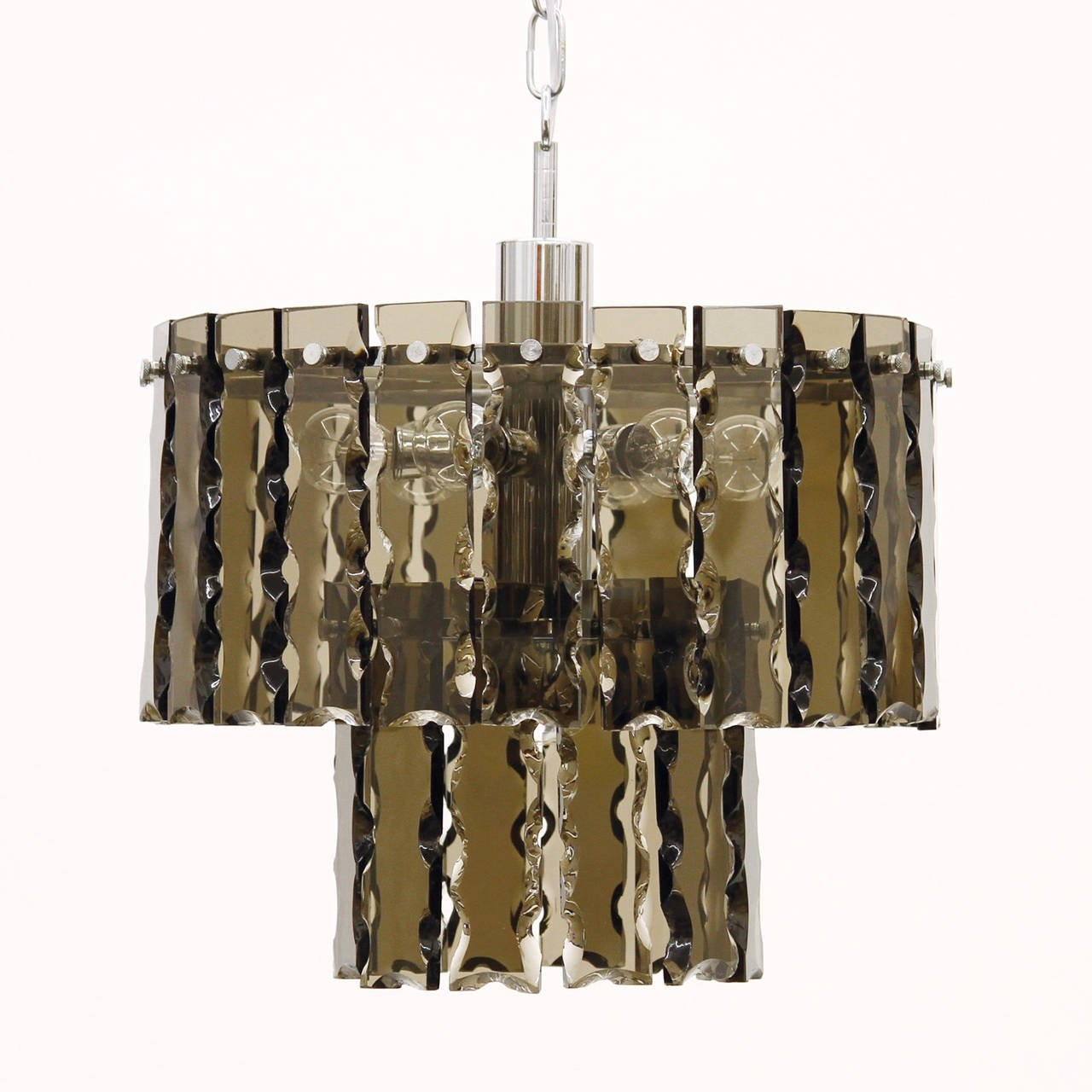 Fontana Arte Style Two Tier Smoke Glass Chandelier For Sale At 1stdibs Inside Smoked Glass Chandelier (Image 6 of 15)