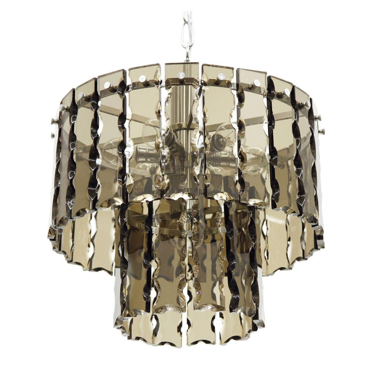Fontana Arte Style Two Tier Smoke Glass Chandelier For Sale At 1stdibs Within Smoked Glass Chandelier (Image 7 of 15)