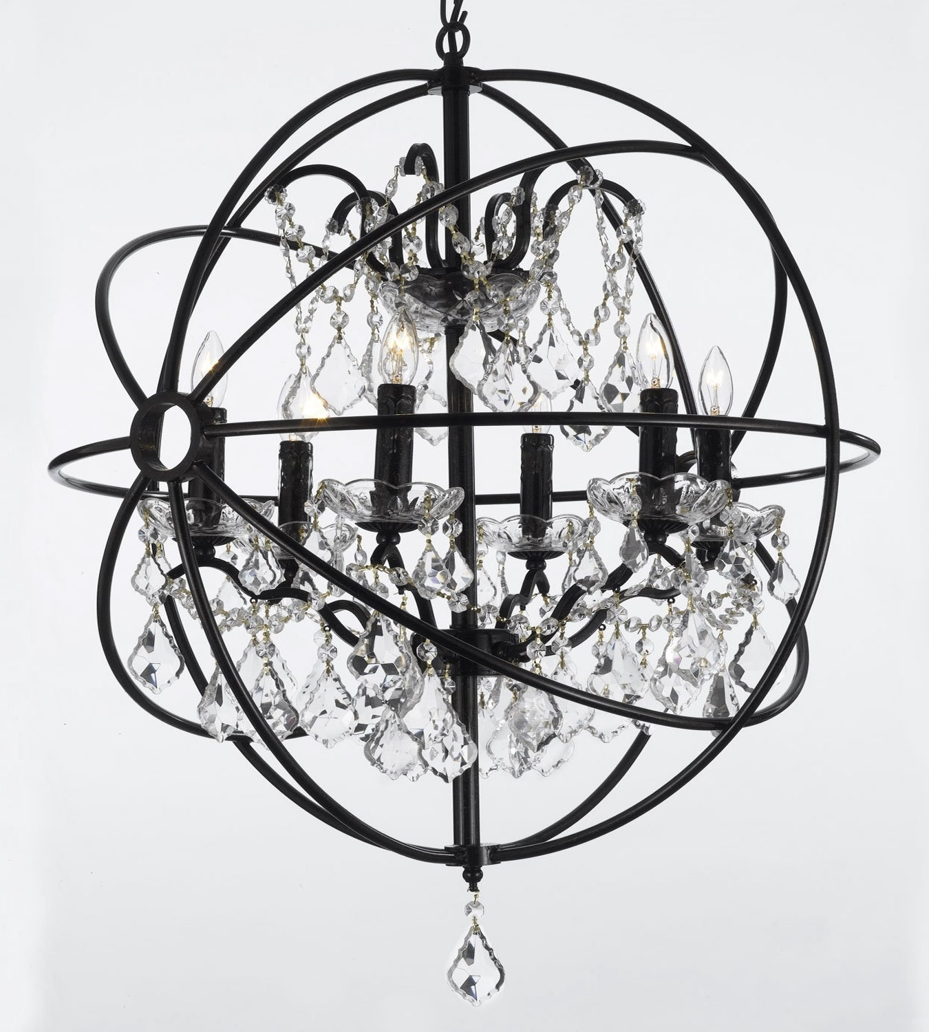 Foucaults Orb Wrought Iron Crystal Chandelier Lighting Country Regarding Metal Sphere Chandelier (Image 7 of 15)