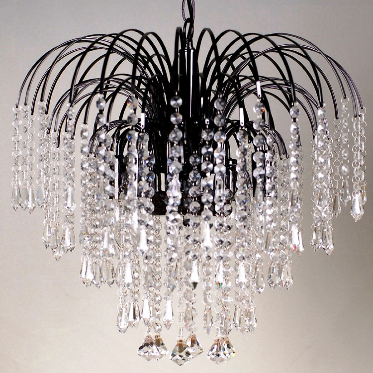 Four Light Black Crystal Chandelier Inside Crystal Waterfall Chandelier (Image 8 of 15)
