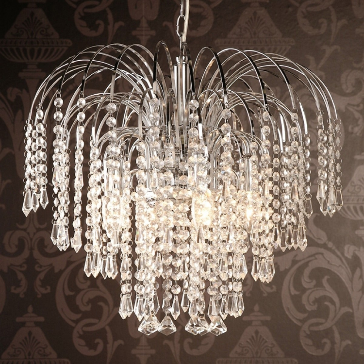 Four Light Chrome Crystal Chandelier Intended For Waterfall Crystal Chandelier (Image 9 of 15)