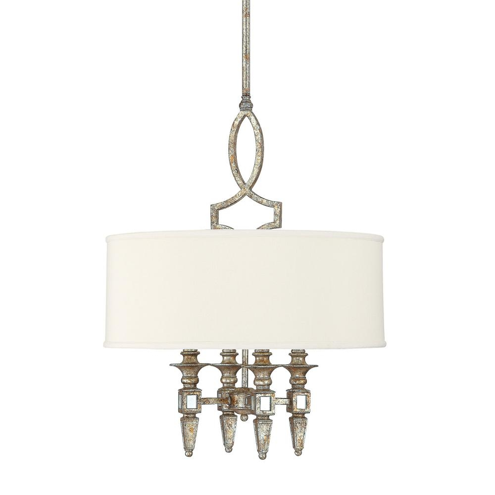 Four Light Silver And Gold Leaf With Antique Mirrors Drum Shade With Regard To Antique Mirror Chandelier (Image 5 of 15)