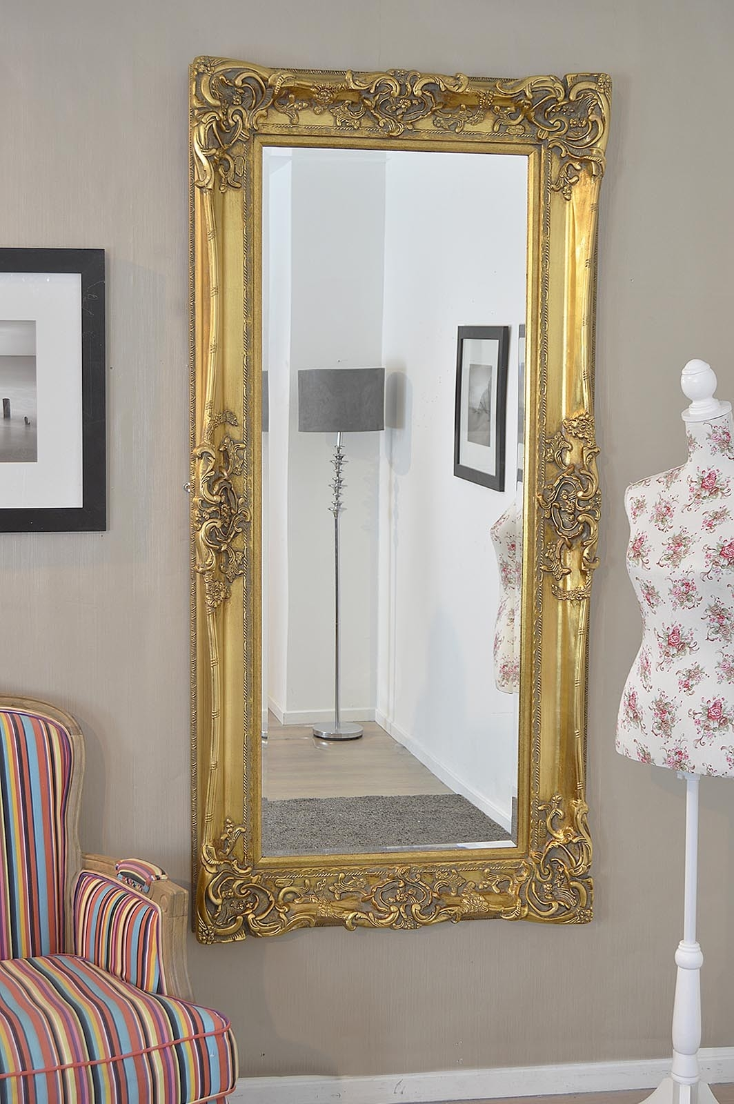Frame Gold Antique Shab Chic Ornate Wall Mirror 6ft X 3ft 183 X Intended For Shabby Chic Gold Mirror (Image 6 of 15)