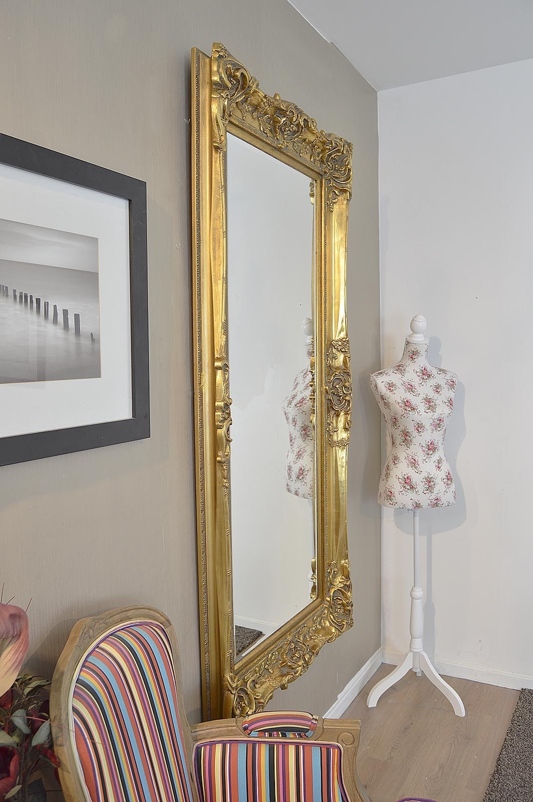 Frame Gold Antique Shab Chic Ornate Wall Mirror 6ft X 3ft 183 X Throughout Shabby Chic Gold Mirror (Image 7 of 15)