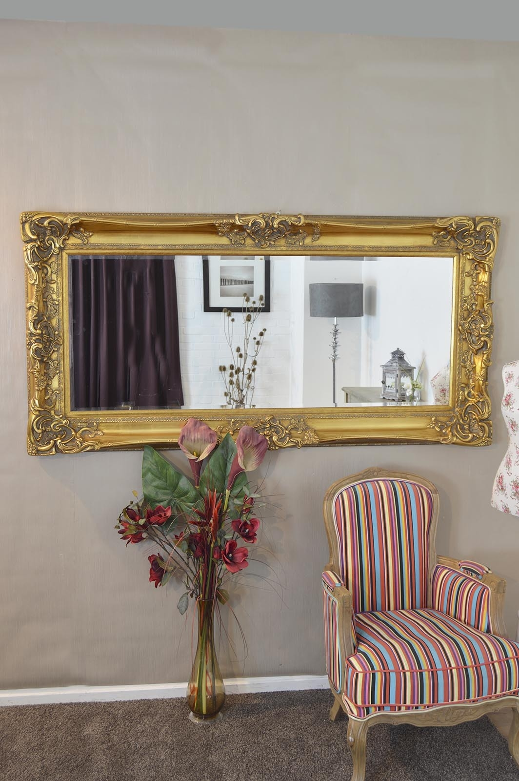 Frame Gold Antique Shab Chic Ornate Wall Mirror 6ft X 3ft 183 X With Shabby Chic Gold Mirror (Image 8 of 15)