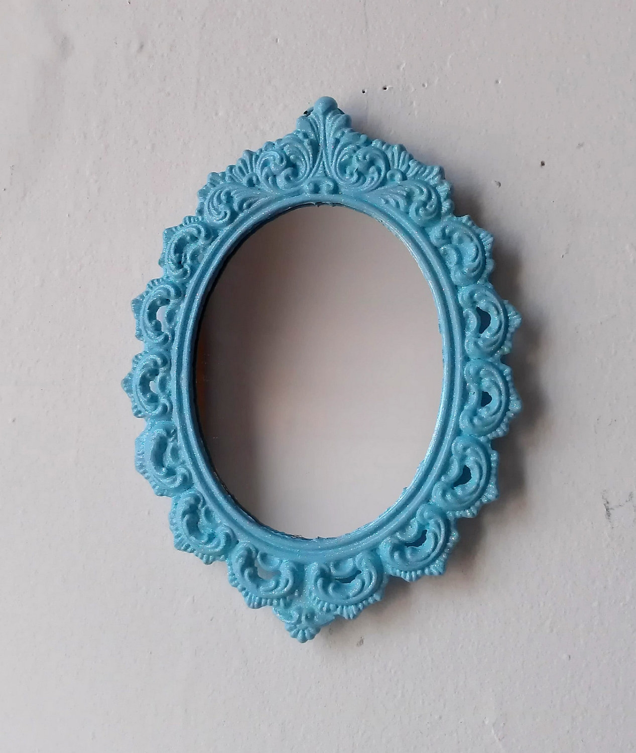 Framed Wall Mirror In Vintage Filigree Frame Ice Blue Sparkle With Regard To Mirror With Blue Frame (Image 3 of 15)