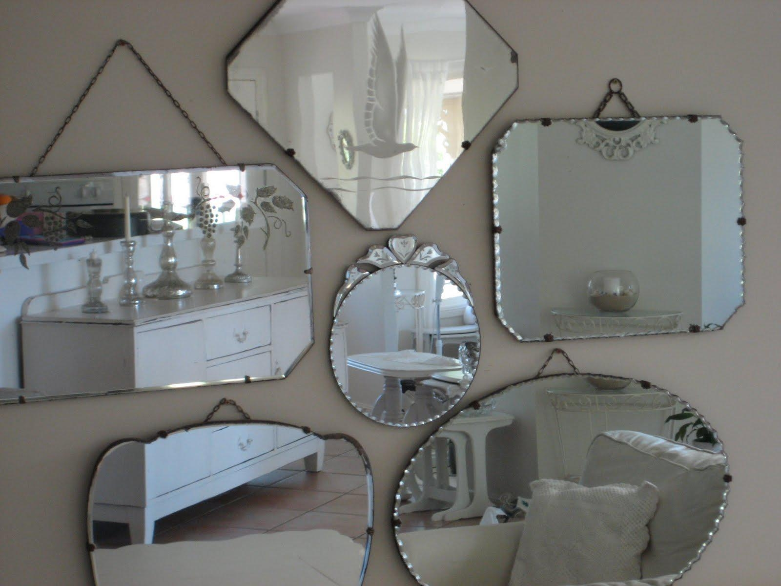Frameless Beveled Mirror Vintage Frameless Beveled Mirror Pertaining To Antique Frameless Mirrors (Image 4 of 15)