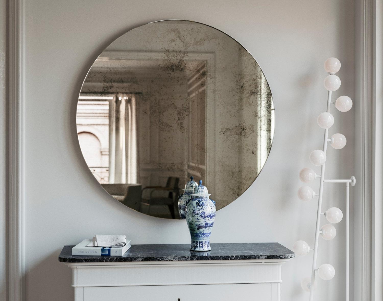 Frameless Mirror 1920s Inspired Art Deco Glass Hanging Wall Regarding Antique Frameless Mirrors (View 11 of 15)