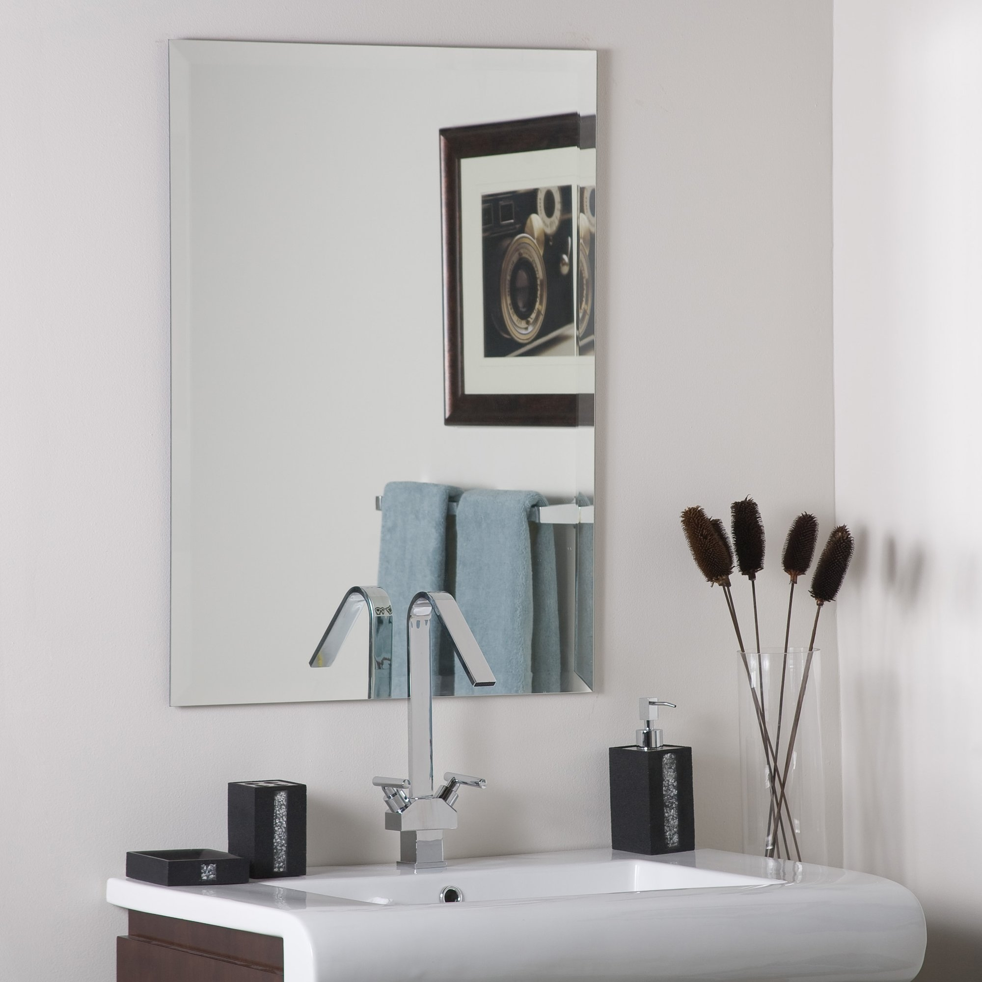 Frameless Mirrors Youll Love Wayfair Inside Wall Mirror Without Frame (Image 2 of 15)