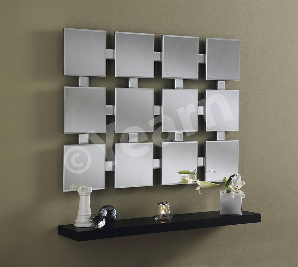 Frameless Multi Faceted Square Tile Wall Mirror 28500 Prints Regarding Square Frameless Mirror (Image 4 of 15)